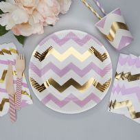 Pattern Works Lilac Chevron Plates (8)